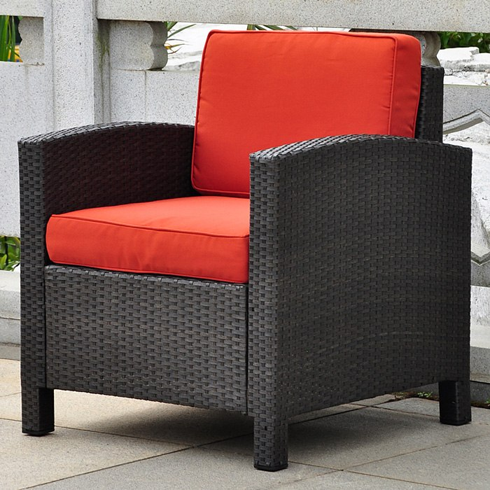 Barcelona Patio Living Room Set - Black Antique Wicker, Red - INTC-4250-S4-BKA-RD
