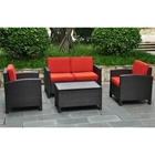 Barcelona Patio Living Room Set - Black Antique Wicker, Red