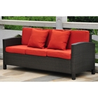 Barcelona Outdoor Sofa - Black Antique Wicker, Red Cushions