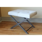 Charlotte Large Vanity Bench - Tufted, Ivory Fabric Seat, Steel Base