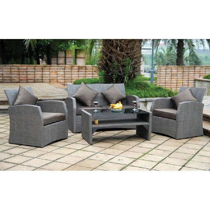 Aruba 4 Piece Patio Living Room Set - Wicker, Fabric Cushions - INTC-BD-1181-B