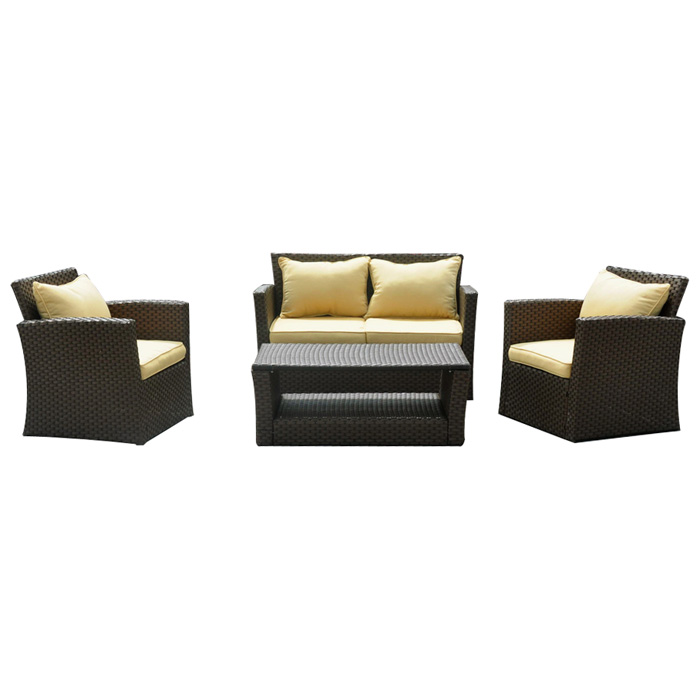 St. Lucia Outdoor Patio Set - Mocha Wicker, Touch of Gold Cushions - INTC-BD-1382-B-05