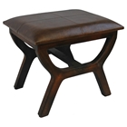 Rafferty Wooden Stool with Upholstered Seat in Brown