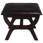 Rafferty Wooden Stool with Upholstered Seat in Dark Chocolate