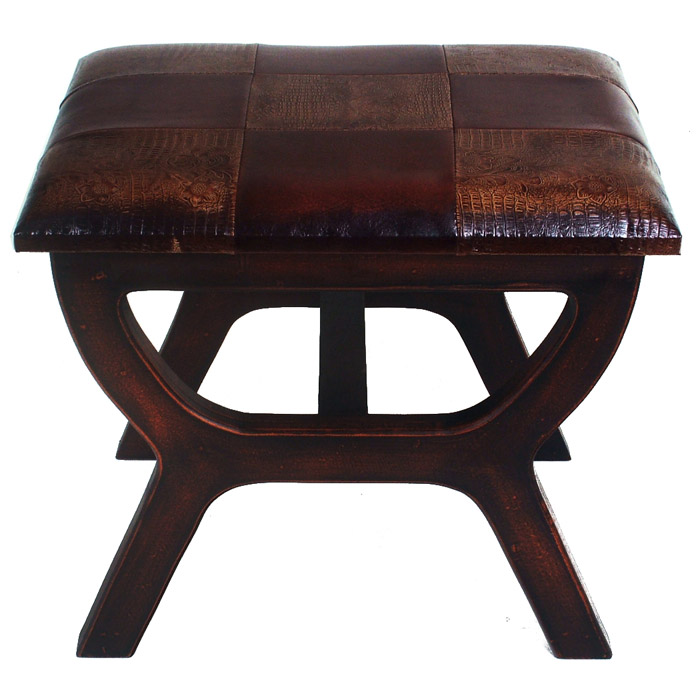 Rafferty Wooden Stool with Two-Toned Patterned Seat