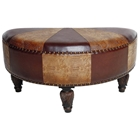 Half-Moon Ottoman in Patterned Upholstery