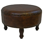 Edalene Brown Round Stool with Turned Legs