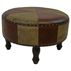 Edalene Two-Toned Round Stool with Nailhead Accents