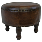 Sacha Brown Round Stool with Wood Legs