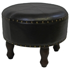 Sacha Dark Chocolate Round Stool with Wood Legs