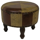 Sacha Two-Toned Round Stool with Wood Legs