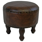 Elyse Round Stool with Brown Upholstery and Wood Legs