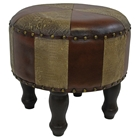 Elyse Round Stool with Mix Pattern Upholstery and Wood Legs