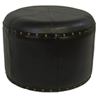 Paulette Small Dark Chocolate Round Ottoman