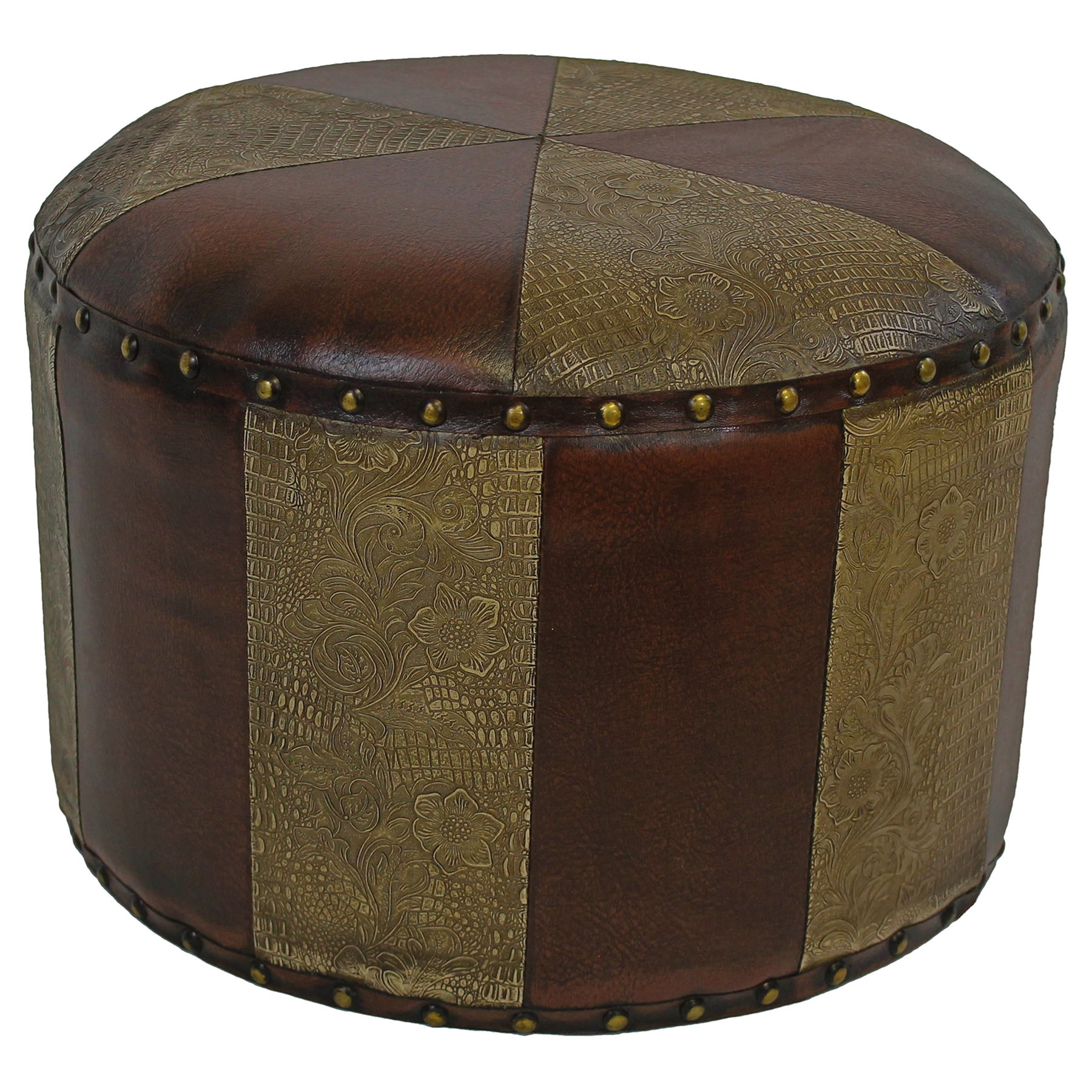 Paulette Small Patterned Round Ottoman