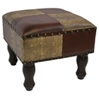 Barclay Square Stool in Two-Toned Patterned Upholstery