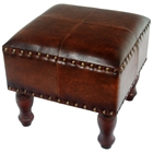 Barclay Square Stool in Brown Upholstery