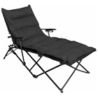 Redford Folding Chaise Lounge - Carry Bag, Black Microsuede