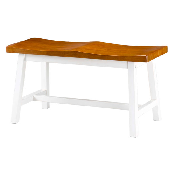 Saddle Seat Bench in Heritage Pearl and Oak