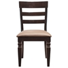 Black Java Ladderback Chair with Upholstered Seat