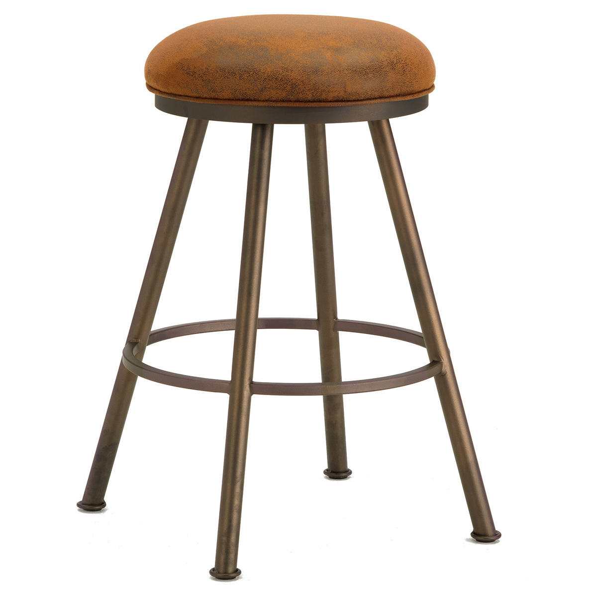 "Alexander 30"" Backless Swivel Bar Stool - Round Seat, Microfiber"