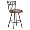 "Alexander 26"" Armless Swivel Counter Stool - X Motif, Lamp Black, Alligator Leather"