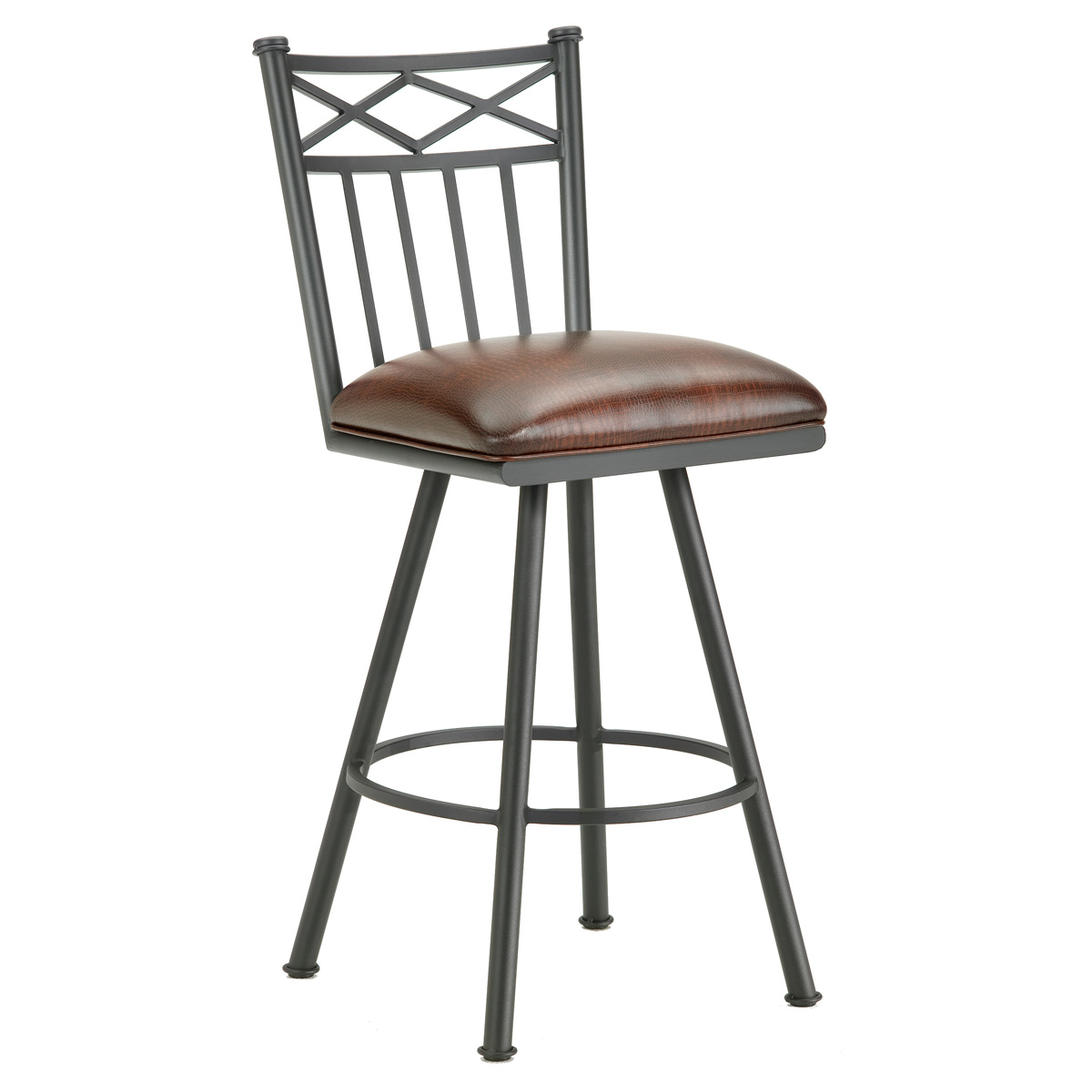 "Alexander 30"" Armless Swivel Bar Stool - X Motif, Lamp Black, Alligator Leather"