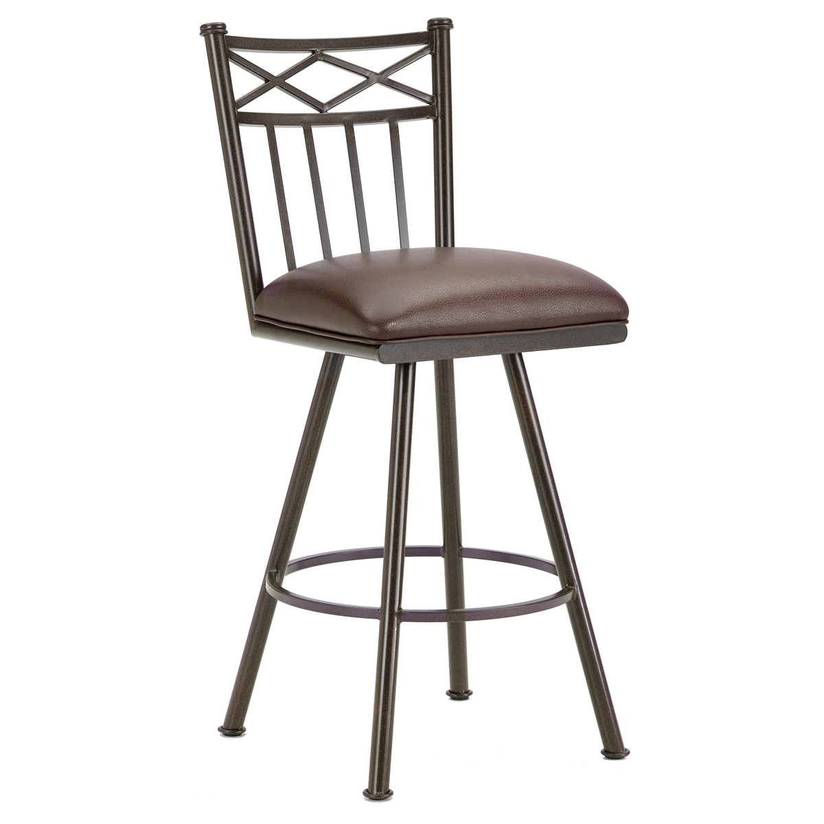 "Alexander 30"" Armless Swivel Bar Stool - X Motif, Rust, Leather"