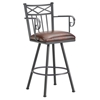 "Alexander 26"" Swivel Counter Stool - Armrests, X Motif, Lamp Black, Alligator Leather"
