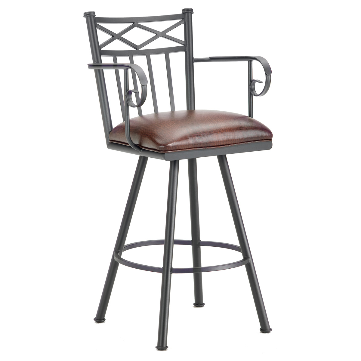 "Alexander 30"" Swivel Bar Stool - Armrests, X Motif, Lamp Black, Alligator Leather"