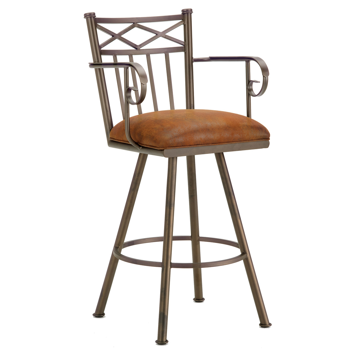 "Alexander 30"" Swivel Bar Stool - Armrests, X Motif, Microfiber"