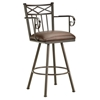 "Alexander 26"" Swivel Counter Stool - Armrests, X Motif, Rust, Leather"