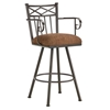 "Alexander 26"" Swivel Counter Stool - Armrests, X Motif, Rust, Chenille"