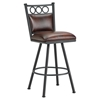 "Waterson 30"" Armless Swivel Bar Stool - Padded, Lamp Black, Alligator Leather"