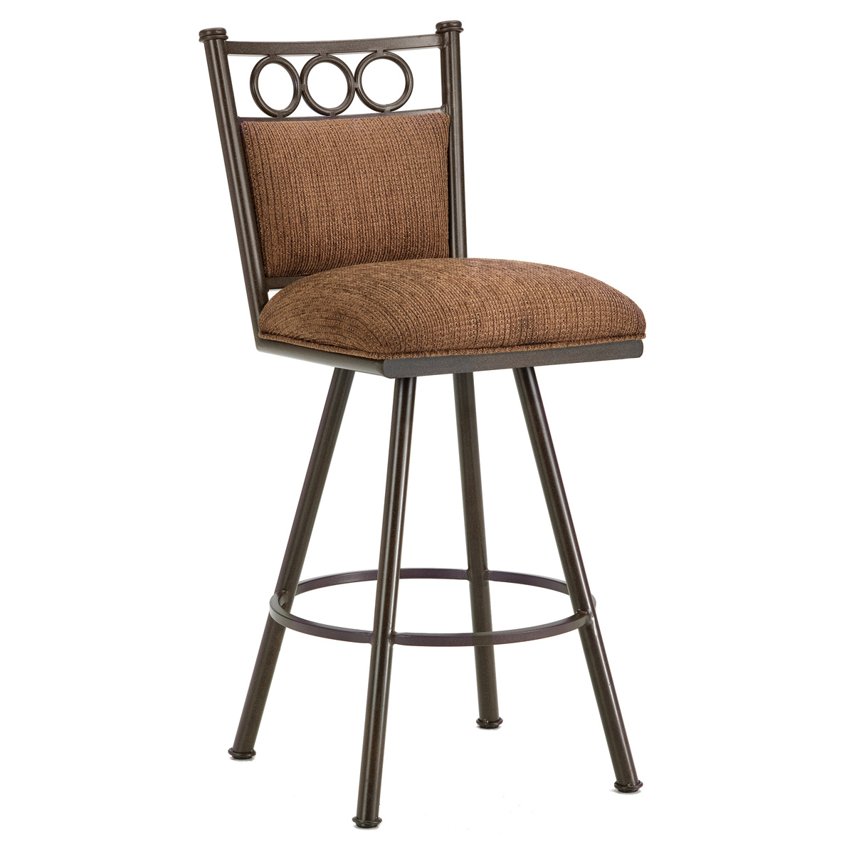 "Waterson 30"" Armless Swivel Bar Stool - Padded, Rust, Chenille"