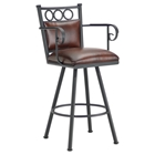 "Waterson 26"" Swivel Counter Stool - Armrests, Padded, Lamp Black, Alligator Leather"