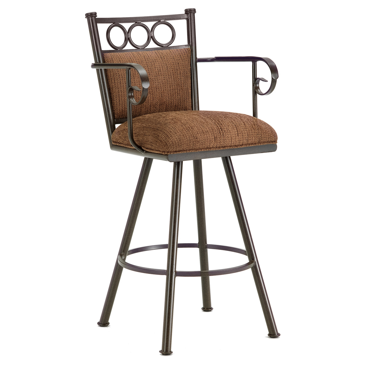 "Waterson 26"" Swivel Counter Stool - Armrests, Padded, Rust, Chenille"