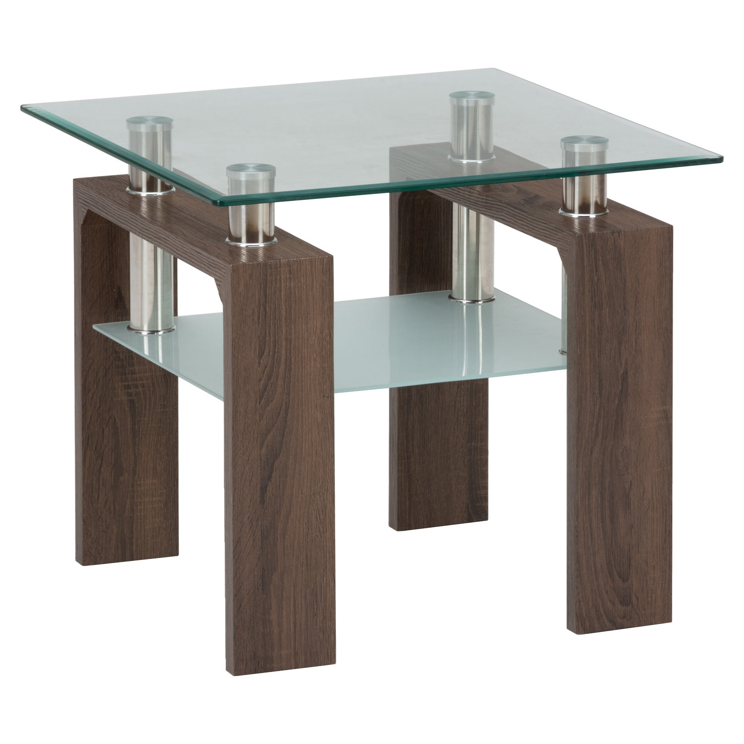 Compass End Table - Glass Top