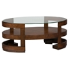 Avon Oval Cocktail Table - Glass Top, Casters, Birch