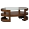 Avon Oval Cocktail Table - Glass Top, Casters, Birch - JOFR-348-1