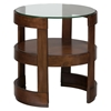 Avon Round End Table - Glass Top, Shelf, Birch