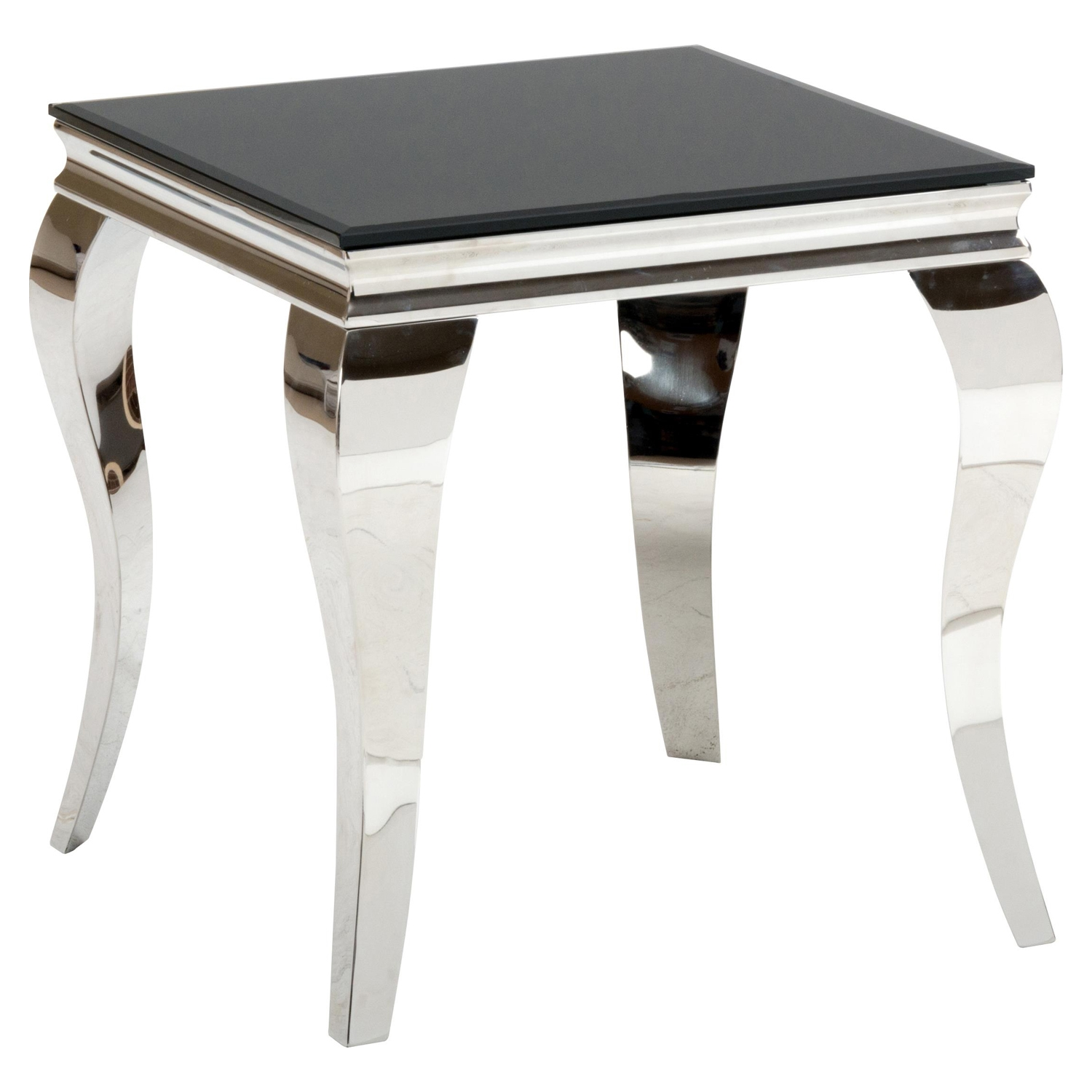 Tuxedo End Table - Stainless Steel and Black