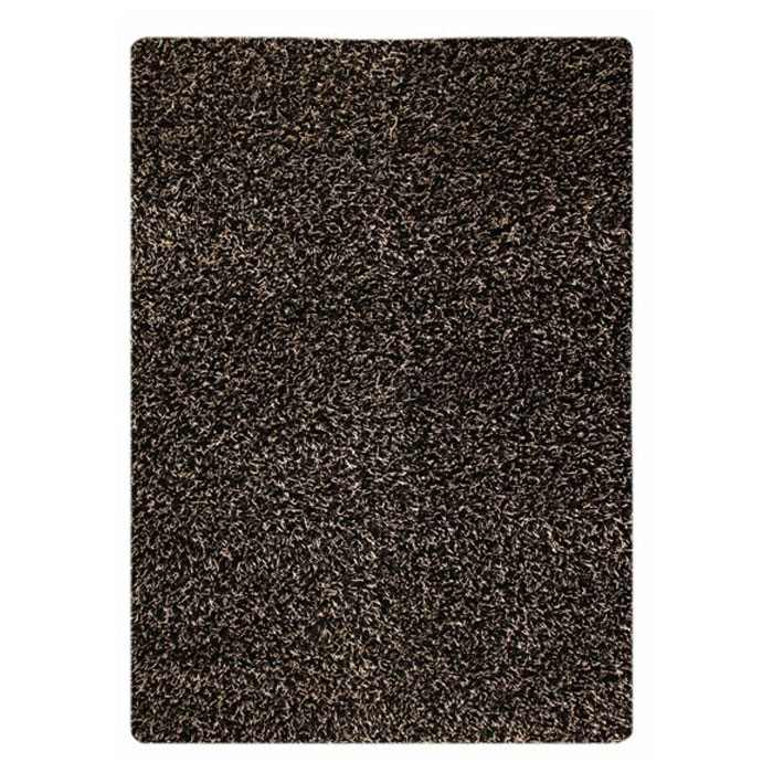 Evonne Hand Woven Polyester Shaggy Rug in Licorice
