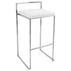 Fuji Stackable Bar Stool - White (Set of 2)