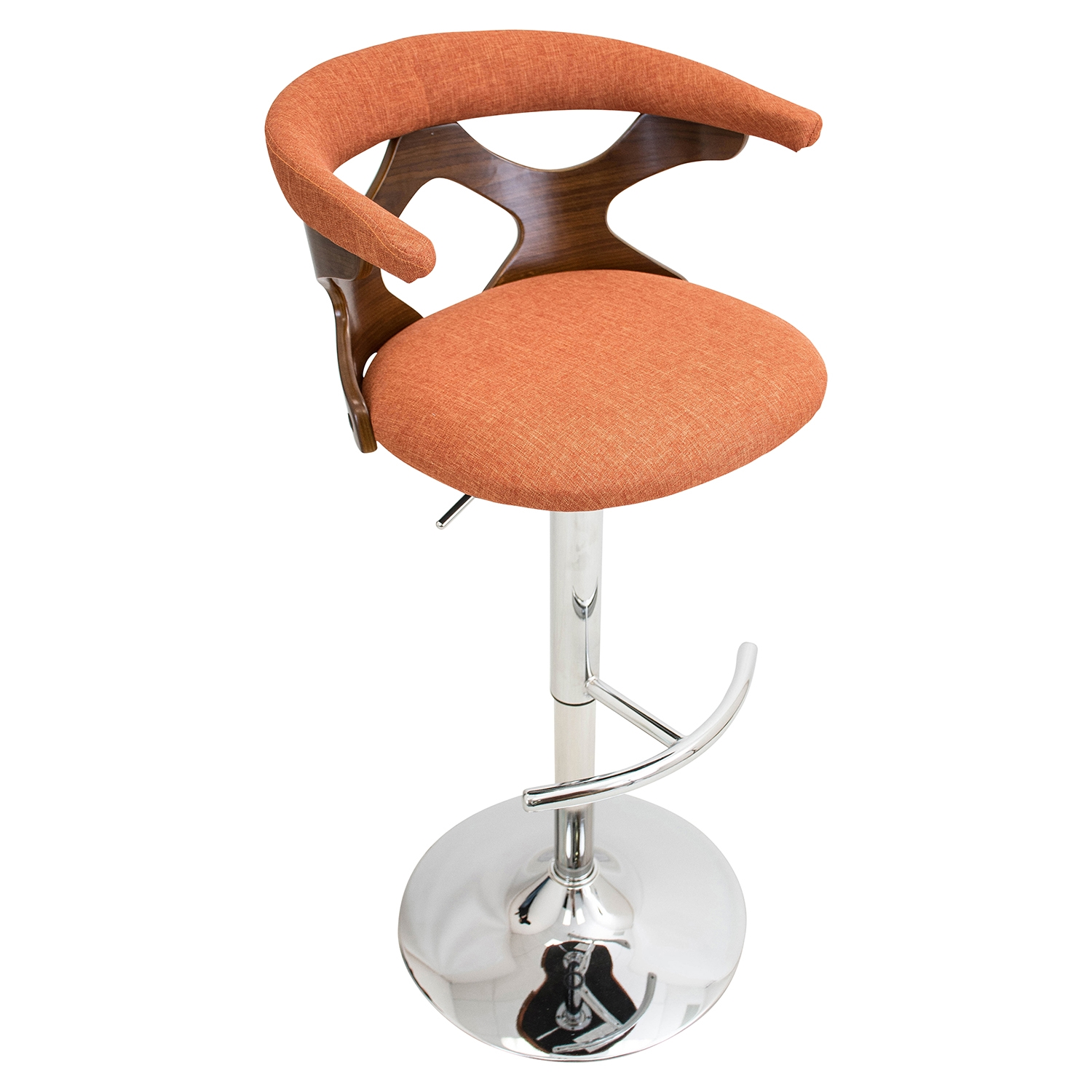 Gardenia Height Adjustable Barstool - Swivel, Orange
