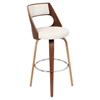 Cecina Swivel Barstool - Cream, Walnut
