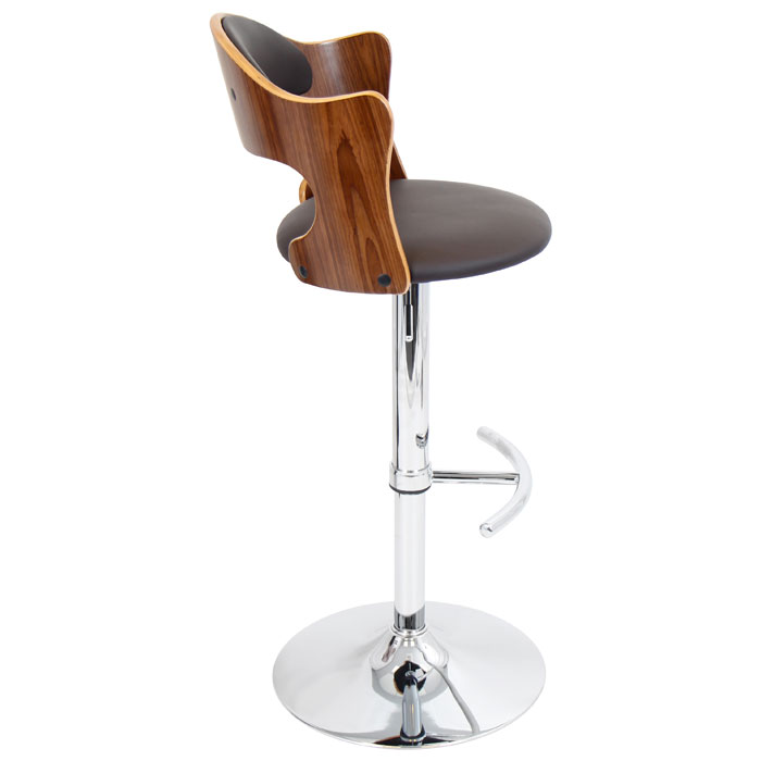 Cello Adjustable Height Bar Stool - Walnut & Brown - LMS-BS-JY-CLO-WL-BN