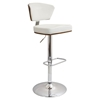 Ravinia Height Adjustable Barstool - Swivel, Walnut, White
