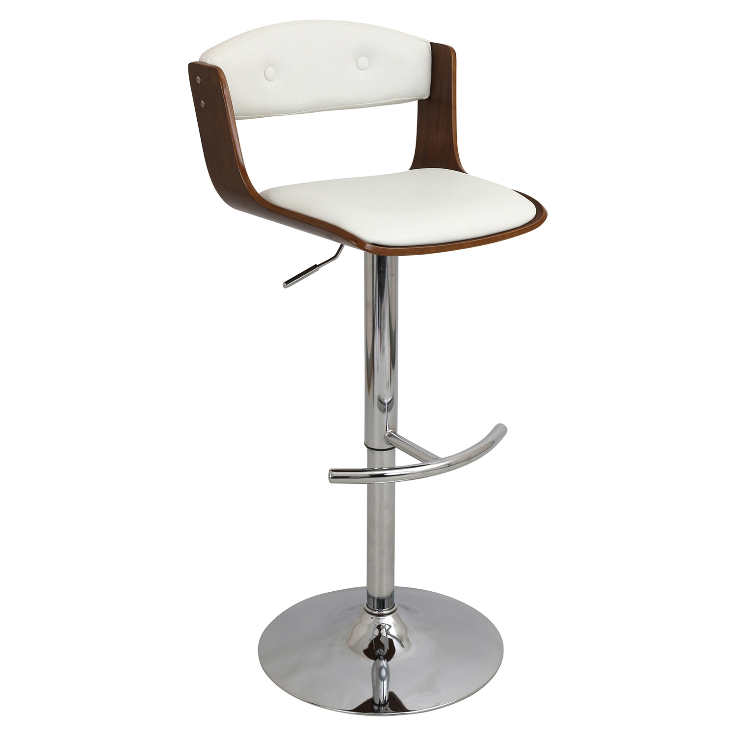 Scucci Height Adjustable Barstool - Swivel, Walnut, White