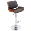 Santi Contemporary Bar Stool - Cherry Wood, Brown